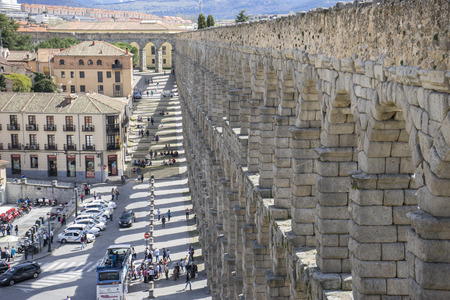 patrimony: Tourist, Roman aqueduct of segovia. architectural monument declared patrimony of humanity and international interest by UNESCO