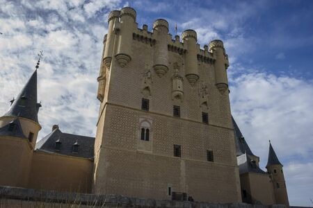 castile leon: Defense, alcazar castle city of Segovia, Spain. Old town of Roman origin