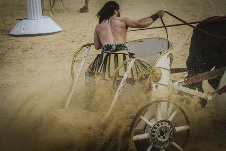 slaves: Strong, chariot race in a Roman circus, gladiators and slaves fighting