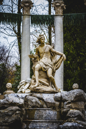 water sources: classical sources of water in the royal gardens of Aranjuez, Spain Stock Photo