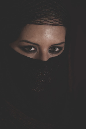 legend: Legend, brunette woman with brown veil, Arabic young woman with green eyes and mysterious beauty