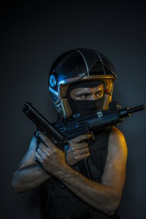 murderer: Weapon, murderer with motorcycle helmet and guns