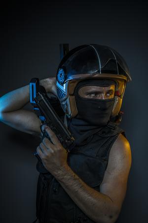 murderer: Mafia, murderer with motorcycle helmet and guns