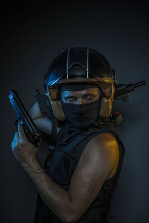 Illegal, murderer with motorcycle helmet and guns