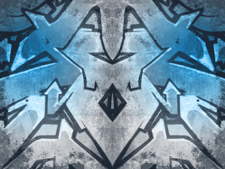 Illustration, geometric shapes painted on an old concrete wall