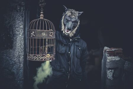 ugly man: Ugly, man with mask wolf and lamp with colored smoke
