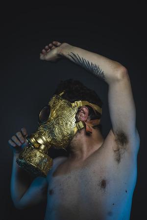 survivor: survivor, depression and danger man with golden gas mask