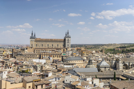spanish civil war: Panoramic, Toledo Alcazar views from a bell tower, fortress of the Spanish Civil War
