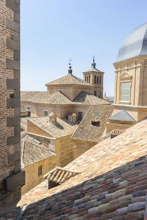 greco: Architecture, Belfry in Toledo, seen from the tiled roof Stock Photo