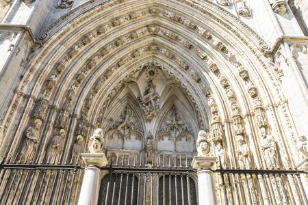 old church: majestic facade of the cathedral of Toledo in Spain, beautiful church