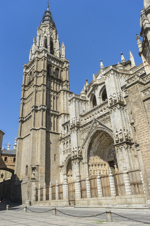 roman catholic: Catholic, majestic facade of the cathedral of Toledo in Spain, beautiful church