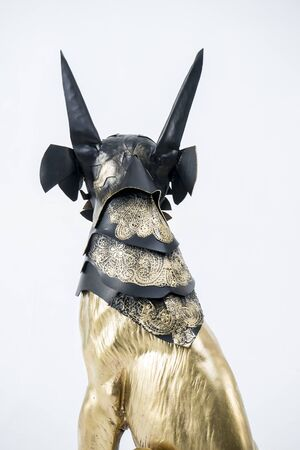 anubis: Treasure, sculpture of the Egyptian god Anubis, gold figure and black jackal