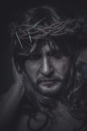 manos y pies: Espiritual, la representaci�n del Calvario de Jesucristo Foto de archivo