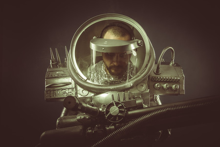spaceman: Fiction, spaceman with plasma gun and helmet glass
