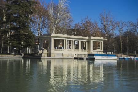 parque del buen retiro: Pier, Lake in Retiro park, Madrid Spain Editorial