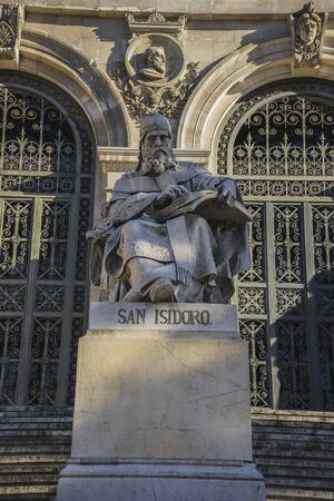isidro: San Isidro Sculpture, National Library of Madrid, Spain. architecture and art