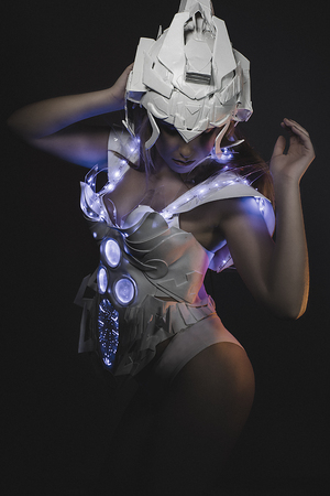 girl with gun: sci-fi, blonde girl with white robot suit and blue LED lights