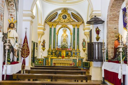 altarpiece: gold altarpiece inside church in Marbella, Andalucia Spain