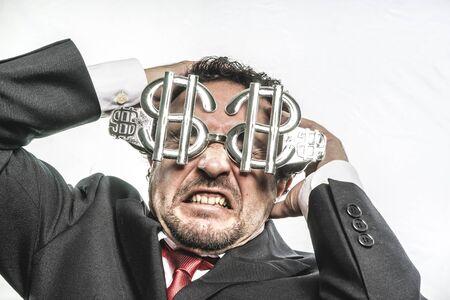 bobo: Engañar a negocios loco con gafas de dólar