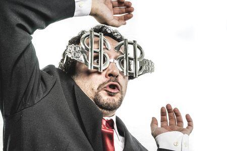Stupid Crazy businessman with dollar glasses