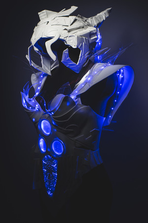 sexy army: Blue LED lights armor made with plastics and lightweight materials.