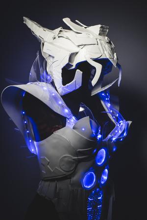 lightweight: Blue LED lights armor made with plastics and lightweight materials.