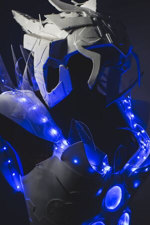 lightweight: Fiber optics Blue LED lights armor made with plastics and lightweight materials.