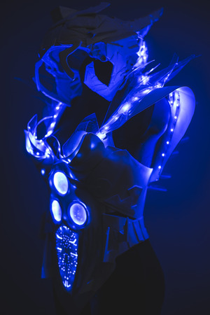 sexy army: Fiber optics Blue LED lights armor made with plastics and lightweight materials.