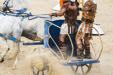 chariot: Roman chariot in a fight of gladiators, bloody circus
