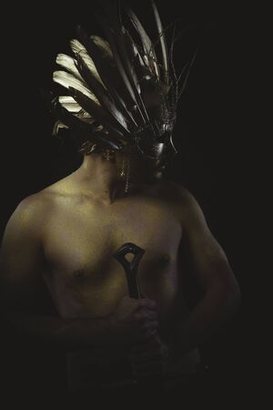 crusades: warrior helmet and gold feathers, giant iron sword