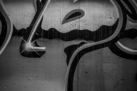 grafitti: segment of a street art grafitti in black and white ink