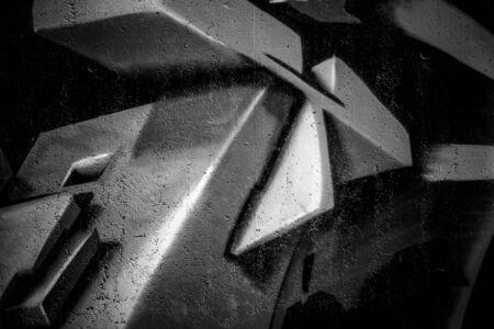 wall street: black ink grafitti design in city wall, street art segment
