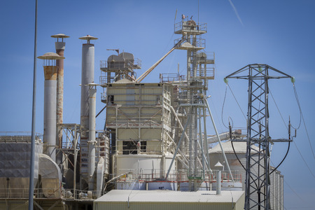 globalwarming: modern industry and refinery, details of pipes and smokestacks