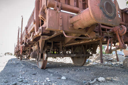 freight train: old freight train, metal machinery details