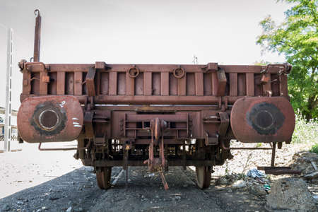 freight train: railway, old freight train, metal machinery details