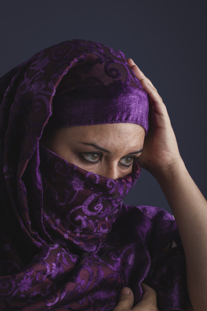 burqa: religious, Beautiful arabic woman with traditional burqa veil Stock Photo