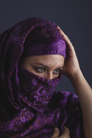 burqa: religious, Beautiful arabic woman with traditional burqa veil Stock Photo
