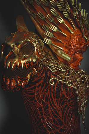 fantasy warrior: Sexy bright red skull handmade fantasy warrior costume with gold and forms