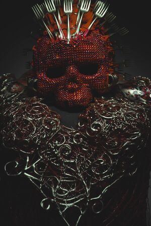 fantasy warrior: evil, bright red skull handmade fantasy warrior costume with gold and forms