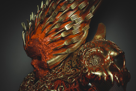 spook: cosplay, bright red skull handmade fantasy warrior costume with gold and forms