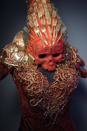 fantasy warrior: bright red skull handmade fantasy warrior costume with gold and forms