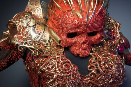 fantasy warrior: halloween, bright red skull handmade fantasy warrior costume with gold and forms Stock Photo