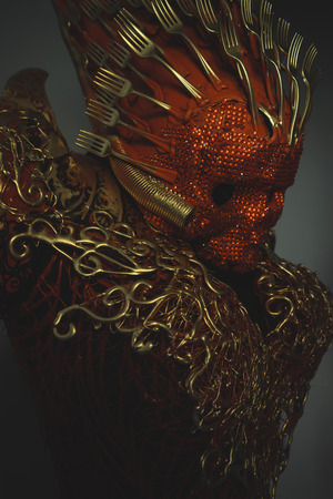 spook: bright red skull handmade fantasy warrior costume with gold and forms