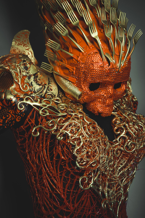 fantasy warrior: death bright red skull handmade fantasy warrior costume with gold and forms