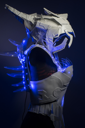 bionic: cyborg, bionic armor with blue LED lights and plastic materials