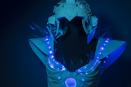 bionic: machine, bionic armor with blue LED lights and plastic materials