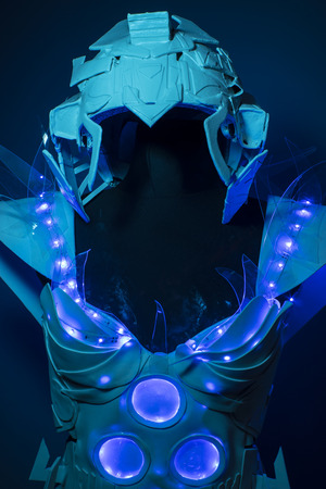 bionic: futuristic, bionic armor with blue LED lights and plastic materials