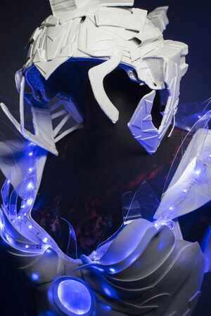 bionic: helmet, bionic armor with blue LED lights and plastic materials