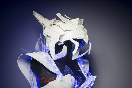 bionic: bionic armor with blue LED lights and plastic materials