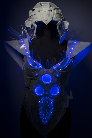bionic: intelligence, bionic armor with blue LED lights and plastic materials Stock Photo
